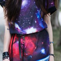 Starry Night galaxy star space print tunic from mancphoebe