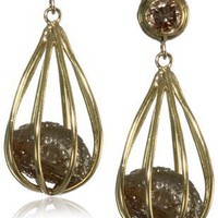 "Moritz Glik ""Kaleidoscope"" 18K Yellow Gold and Diamond Cage Earrings"