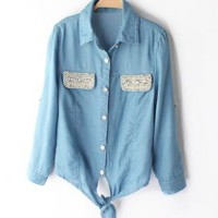 Pearls & Rhinestones Lace-up Short Slim Denim Shirts