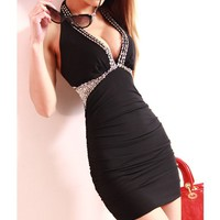 Tight package buttocks thin hanging neck backless dress