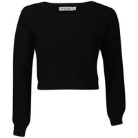 Womens Crop Fisherman Knit Jumper - Black