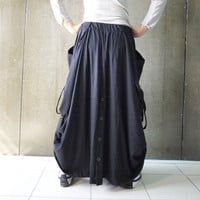 Plus size Women Skirt/Pants - Boho Funky Hippie Stylish Steampunk Convertible Skirt/Pants In Black Stretch Cotton - SKP001
