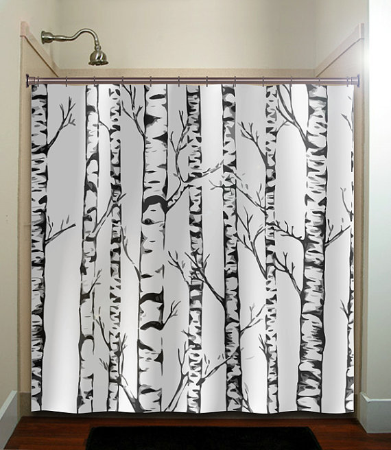 winter forest birch trees shower curtain from tablishedworks on