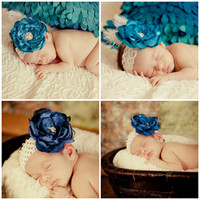 Baby Satin Flower Headband or Clip with Rhinestone Accent  Custom Order