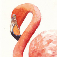 Flamingo Painting print of watercolor painting by Splodgepodge
