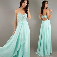 New Mint Beaded Evening/Party/Prom/Pageant/Cocktail dress/Ball gown/SZ 6 8 10