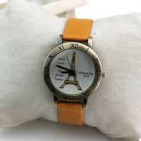 The Eiffel Tower Lady Watch Orange Leather Wrist Watch,Handmade Women's Watch, Everyday Bracelet  PB040