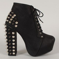 Dolly-01 Studded Spike Lace Up Platform Ankle Bootie