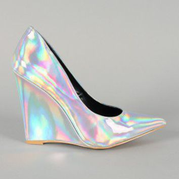 Liliana Adele-1 Hologram Pointy Toe Wedge