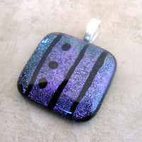 Dichroic Purple Pendant,  Fused Glass Pendant, Hand Etched Jewelry, Womens Jewelry - Hold the Line - 2970 -2