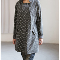 Happy smiling/ cute double breasted knee length tunic coat  in gray