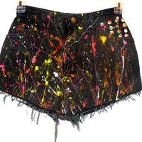 Vintage Wrangler High Waist Splatter Shorts by CheetahnotCougar