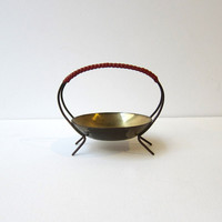 Vintage 1960s modernist brass basket bowl