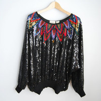 Tribal Glow - Vintage 80s FRANK USHER Sequin Top Shirt