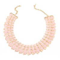Gold/Pink 3-Row Ball Bead Necklace