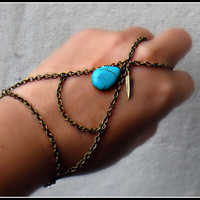 triangle slave bracelet with turquoise drop by alapopjewelry