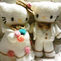 married kitty amigurumi wedding dolls by thujashop on Etsy