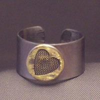 Steel Adjustable Ring with Mesh Heart Rivet by WireNWhimsy on Etsy