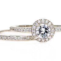 Platinum Diamond Wedding Set Halo Engagement Ring & Wedding Band Handmade Engagement Ring