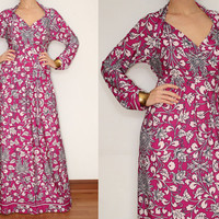 Long Sleeve Maxi Dress Fuchsia Pink Floral for Women by KSclothing