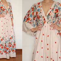 Kimono Dress Maxi Dress Floral Dress in Ivory for Women