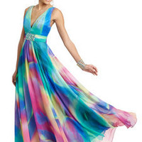 ideeli | LA FEMME Deep V-Neck Printed Gown