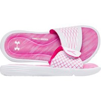 Under Armour Women's Ignite V Slide - White/Pink | DICK'S Sporting Goods