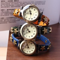 Vintage Bronze Star Studs Women's Leather Wrist Watch - Watches - Accessories - Women Free Shipping