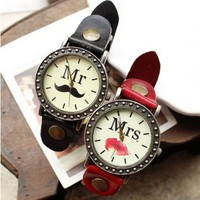 Sexy Red Lips Print Women's Vintage Leather Wrist Watch - Watches - Accessories - Women Free Shipping