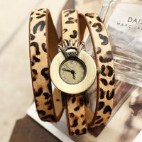 Vintage Crown Leopard Women's Leather Wrist Watch - Watches - Accessories - Women Free Shipping