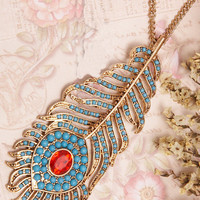 Sapphire Leaves Feathers Long Necklace [AN0122] - $12.99 :