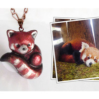 Red panda polymer clay pendant necklace - 10% of proceeds go to the RED PANDA NETWORK charity