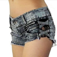 Retro sexy lace stitching zipper torn burrs denim shorts