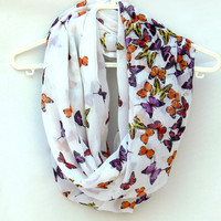 Infinity Scarf with Butterflies. Infinity Scarf. Women Accessories. Loop Scarf, Tube Scarf