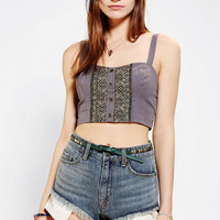Staring At Stars Embroidered Button-Front Bra Top