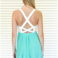 White Bustier Cutout Dress with Turquoise Skirt