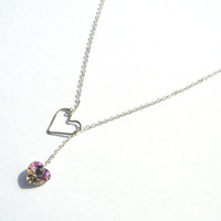 Pink Heart Drop Necklace - Swarovski Crystal - Sterling SIlver - Mothers Day Jewelry - Handmade - Gifts Under 15, 20, 30 - Jewelry Set