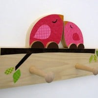 Mother and Baby Bird Peg Rack Hot Pink by MapleShadeKids on Etsy