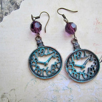 Verdi-gris Clock Earrings