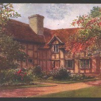 Vintage Postcard Stratford on Avon, England , W.W. Quatremain watercolor, Shakespeares Birthplace Garden, Unused