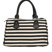 Canvas Striped Satchel | Shop Accessories at Wet Seal
