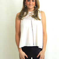 Steal My Sunshine Crochet Lace Up Top - White -  $35.00 | Daily Chic Tops | International Shipping