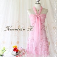 Princess Jasmine lV - Cocktail Wedding Prom Party Dancing Beach Hawaii Dress Bright Pink Color Indian Gritter Lace Halter XS-S
