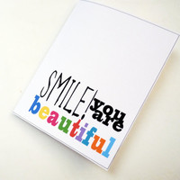 Smile You Are Beautiful Textured White by Buttonlandia on Etsy
