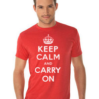 Keep Calm and Carry On (White) Fine Jersey T-Shirt