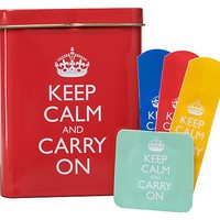 Keep Calm and Carry On Bandaids in Red Tin box -- 2 Boxes