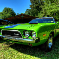 Green '72 Dodge Challenger Rallye 001 Photograph by Lance Vaughn - Green '72 Dodge Challenger Rallye 001 Fine Art Prints and Posters for Sale