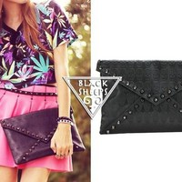 Skull Texture Black Clutch from Blacksheep