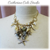 STARFISH statement necklace sea shells great for summer jewelry Catherine Cole Studio womens jewelry summer beachwear