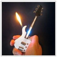 Mini White Guitar LED Light Refillable Cigar Cigarette Lighter